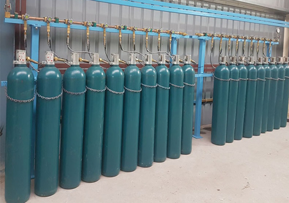 Gas Manifold is a group of Gas Cylinders connected in series and is designed to supply gas through a pipeline to an equipment or building.